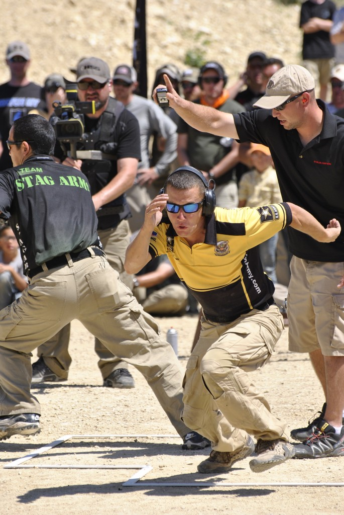 Daniel Horner and Kalani Laker face off at the 2012 Texas Multigun Championship Shoot-off.
